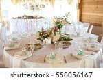 wedding table appointments with ... | Shutterstock . vector #558056167