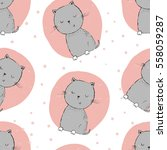 Stock vector cute cats seamless pattern background 558059287