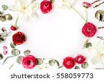 Floral Frame Of Pink And Red...