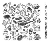 hand drawn big vector set with... | Shutterstock .eps vector #558074707