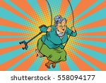 old woman swinging on a baby... | Shutterstock .eps vector #558094177