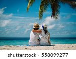 happy loving couple on tropical ... | Shutterstock . vector #558099277