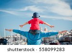 family travel   father and... | Shutterstock . vector #558099283