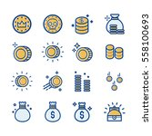 coin   money icon vector set. | Shutterstock .eps vector #558100693