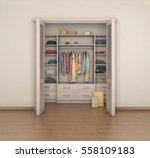 empty room interior and full... | Shutterstock . vector #558109183