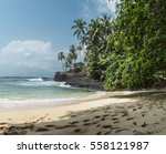 Stock photo seaside of tropical island beach of sao tome soft curling 558121987