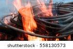 wires on fire. firing winding... | Shutterstock . vector #558130573