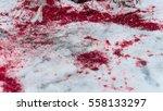 blood splatter on the snow pan... | Shutterstock . vector #558133297
