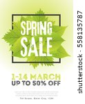 spring sale poster template... | Shutterstock .eps vector #558135787