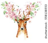 beautiful deer  big antlers ... | Shutterstock . vector #558138553