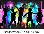 dancing children. silhouettes... | Shutterstock .eps vector #558149707