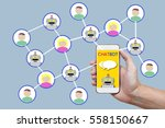 chatbot concept with instant... | Shutterstock . vector #558150667