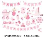 boy girl shower design elements.... | Shutterstock .eps vector #558168283