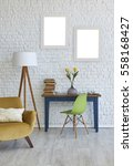 modern white brick wall and... | Shutterstock . vector #558168427