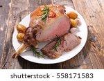 roast lamb leg | Shutterstock . vector #558171583
