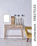 modern brick wall desk interior ... | Shutterstock . vector #558175153