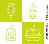 set of vegan food icons. burger ... | Shutterstock .eps vector #558180667