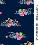 colorful floral seamless... | Shutterstock . vector #558186547