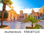 Valencia Spain Virgin Square Architecture with Sunrise