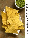 corn tortilla chips with... | Shutterstock . vector #558189427