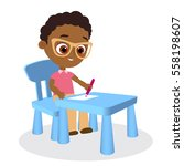 young african american boy... | Shutterstock .eps vector #558198607