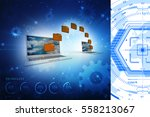 3d rendering folder connected... | Shutterstock . vector #558213067