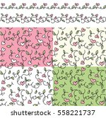 set of romantic fine seamless... | Shutterstock .eps vector #558221737