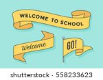 set of ribbon banners and flag... | Shutterstock .eps vector #558233623