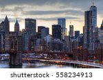 Nyc Skyline At Sunset With The...