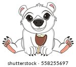 white bear sot and eating an... | Shutterstock . vector #558255697