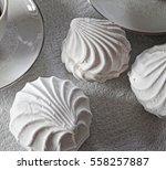 white shaped marshmallows ... | Shutterstock . vector #558257887