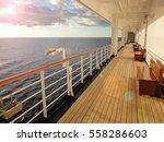 cruise ship wooden deck at... | Shutterstock . vector #558286603