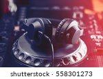 party dj headphones with... | Shutterstock . vector #558301273