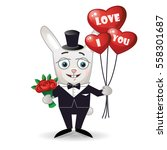 happy rabbit with a bouquet of... | Shutterstock .eps vector #558301687