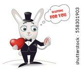 elegant rabbit with red heart... | Shutterstock .eps vector #558301903