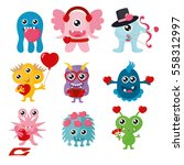 valentine's day monsters set.... | Shutterstock .eps vector #558312997