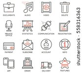 vector set of 16 linear quality ...   Shutterstock .eps vector #558316363