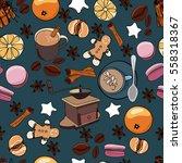 seamless coffee pattern.    Shutterstock .eps vector #558318367