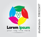 v logo alphabet abstract with... | Shutterstock .eps vector #558322657