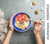 yogurt  granola  seeds  fresh... | Shutterstock . vector #558334513