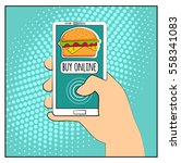 comic phone with halftone... | Shutterstock .eps vector #558341083