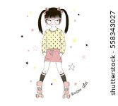 cute cartoon roller girl   kid... | Shutterstock .eps vector #558343027