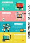 flat concept banners. social... | Shutterstock .eps vector #558379927