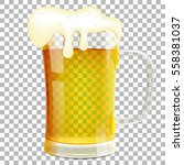 glass of beer with foam on...   Shutterstock .eps vector #558381037