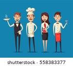 restaurant team. cartoon vector ... | Shutterstock .eps vector #558383377
