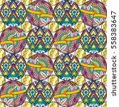 patch boho flower seamless... | Shutterstock .eps vector #558383647