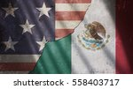 usa and mexico flag on cracked... | Shutterstock . vector #558403717