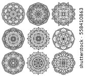 yoga medallions  meditation... | Shutterstock .eps vector #558410863