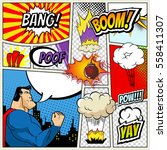illustration of comic book page in pop art style with superhero, speech bubbles and comic strip on colorful halftone. Bang and boom sound. City Silhouette | Shutterstock vector #558411307