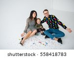 young family of mother father... | Shutterstock . vector #558418783